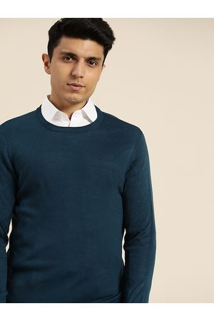 Invictus Men Teal Blue Solid Pullover Sweater