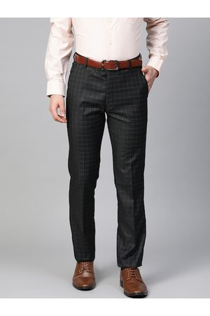 MANQ Men Black Checked Slim Fit Formal Trousers