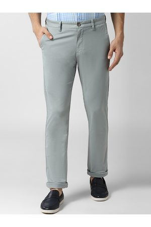 Peter England Men Grey Slim Fit Self Design Regular Trousers