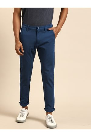 Ether Men Navy Blue Regular Fit Solid Chinos