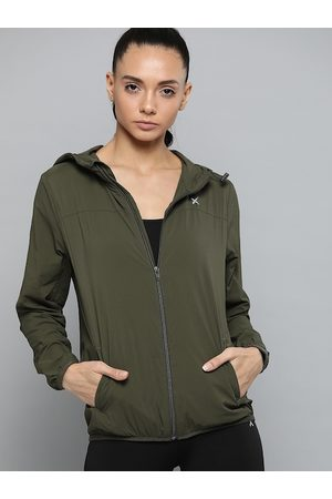 HRX Women Olive Green Solid Sporty Jacket