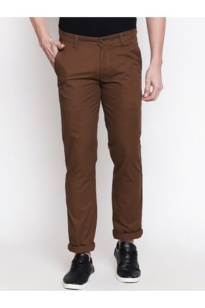 Pantaloons Men Brown Slim Fit Solid Regular Trousers