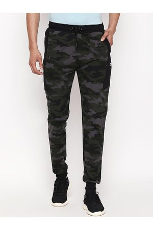 Pantaloons Men Olive Green & Grey Camouflage Printed Slim Fit Track Pants