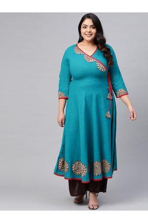 Yash Gallery Women Plus Size Blue & Beige Solid Angrakha Anarkali Kurta