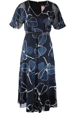 Max Mara Women Printed Dresses - Maxmara Studio Navy and Patterned Silk Dress