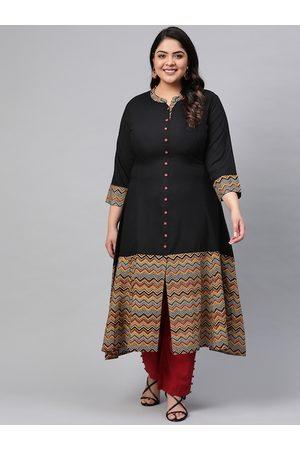 Yash Gallery Women Plus Size Black & Red Printed Detail A-Line Kurta