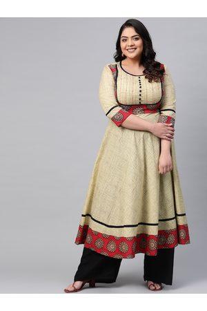 Yash Gallery Plus Size Women Beige & Maroon Yoke Design A-Line Kurta