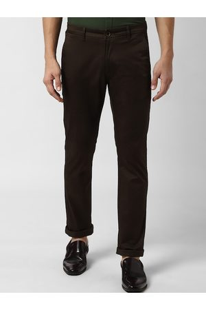 Peter England Men Brown Slim Fit Solid Regular Trousers