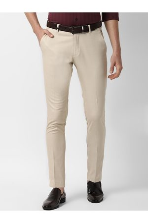 Louis Philippe Men Beige Slim Fit Checked Formal Trousers