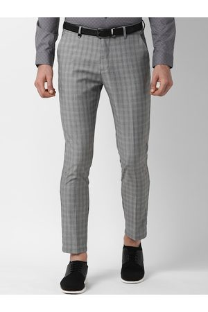 Louis Philippe Men Grey Slim Fit Checked Formal Trousers