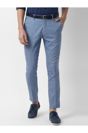 Louis Philippe Men Blue Slim Fit Self Design Regular Trousers