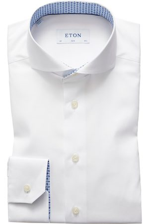 Eton Slim Fit Poplin Shirt - Floral Print Details