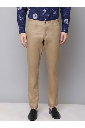 GANT Men Beige Slim Fit Solid Regular Trousers