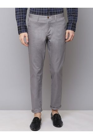 GANT Men Grey Slim Fit Solid Regular Trousers
