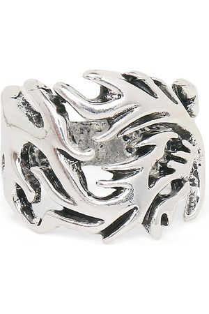 OOMPH Men Silver-Toned Gothic Dragon Biker Finger Ring