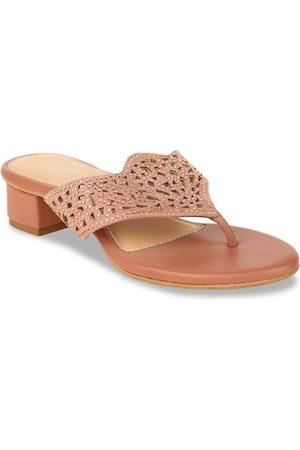 Bata Women Pink Textured Block Heels