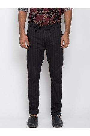 Antony Morato Men Black Slim Fit Striped Regular Trousers
