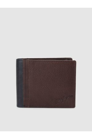 Tommy Hilfiger Men Tan Brown Genuine Leather Solid Two Fold Wallet
