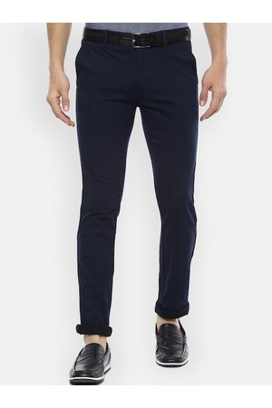 V Dot Men Navy Blue Slim Fit Checked Regular Trousers