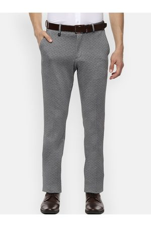 V Dot Men Grey & Black Skinny Fit Printed Formal Trousers