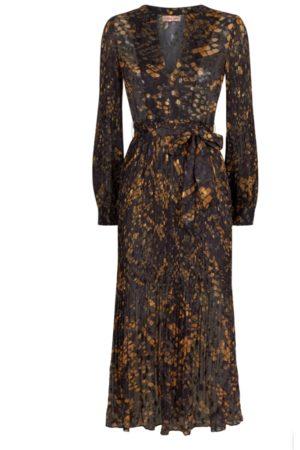 Traffic People Women Maxi Dresses - Fallen Chiffon Pleated Maxi Dress - & Mustard