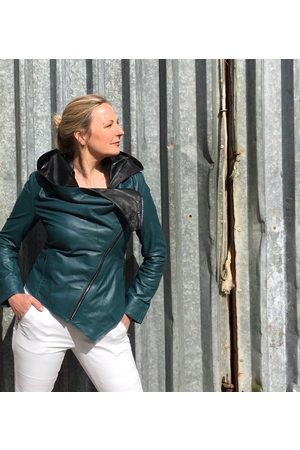 From My Mother's Garden Women Leather Jackets - HOODED LEATHER JACKET TEAL