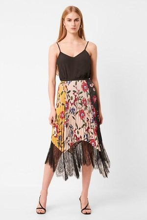 French Connection Women Printed Skirts - Abeona Drape Lace Print Pleated Skirt - 73NAI