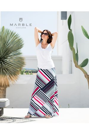 Marble 5757 Maxi Skirt in navy, red and white.