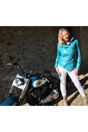 From My Mother's Garden Women Leather Jackets - HOODED LEATHER JACKET TURQUOISE
