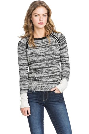 Lilla P Women Long Sleeve - Marled Colourblock Long Sleeve Raglan Sweater - Grey / Black