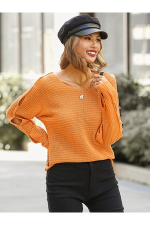 YOINS Cut Out Round Neck Long Sleeves Sweater