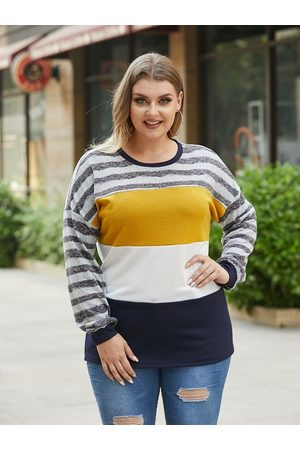 YOINS Plus Size Crew Neck Striped Multicolor Knit Long Sleeves Tee