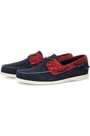 Baracuta X Sebago Portland Suede Boat Shoe Navy & Red
