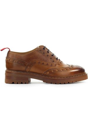 Barracuda WOMEN'S BD1010BROWN LEATHER LACE-UP SHOES