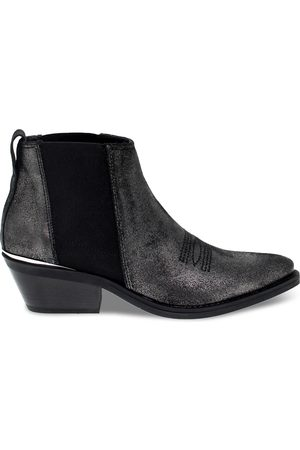 Janet&Janet Women Ankle Boots - WOMEN'S JANET44213F GREY LEATHER ANKLE BOOTS