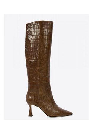 Lola Cruz Capecod Croco Effect Leather Tall Boots