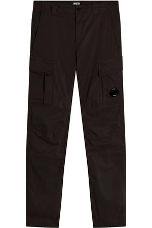 CP Company Men Cargo Trousers - C.P. Company Garment Dyed Stretch Sateen Fitted Lens Pocket Cargo Pants Total Eclipse