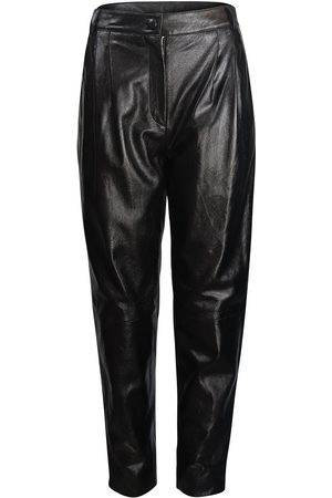 Moschino Women Leather Trousers - Boutique Leather Carrot Leg Trouser