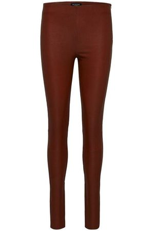 SELECTED Women Leather Trousers - SLFSYLVIA MW STRETCH LEATHER LEGGING CHERRY MAHOGANY