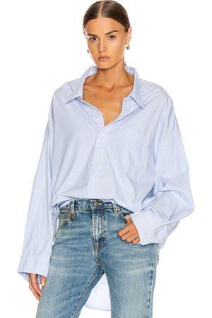 R13 Women Long Sleeve - Drop Neck Oxford Shirt in & Pinstripe