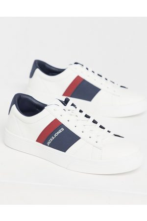 Jack & Jones Faux leather trainer with stripe logo in