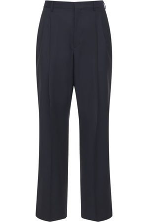 VALENTINO Logo Embroidery Wool Blend Loose Pants