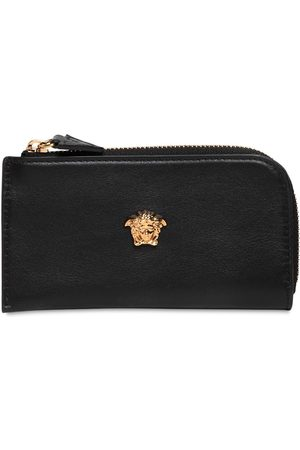 VERSACE Logo Leather Zip Card Holder
