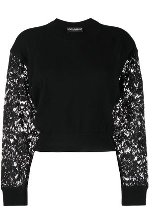 Dolce & Gabbana Women Jumpers - Lace-sleeve cropped jumper