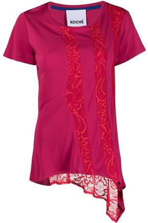 KOCHÉ Women Tops - Asymmetric lace panel top