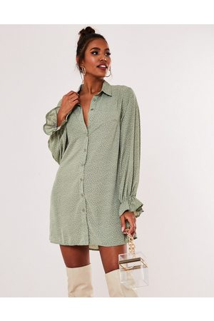 Missguided Shirt dress with frill cuff in mint polka