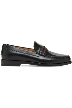 Gucci 25mm Gg Web Kaveh Leather Loafers
