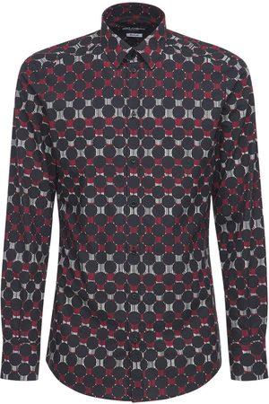 Dolce & Gabbana Men Shirts - Geometric Print Stretch Cotton Shirt
