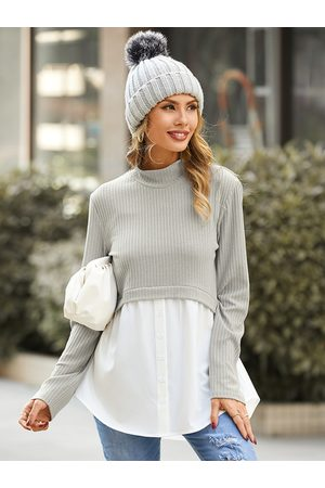 YOINS Grey Patchwork Long Sleeves Mock Neck Ribbed Knit Top