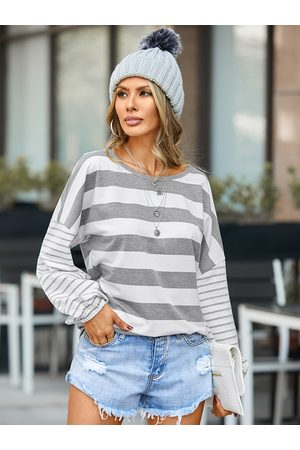 YOINS Striped Patchwork Round Neck Long Sleeves Tee